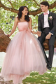 Elegant Strapless Pink Wedding Dress with Bow Sash vestido de casamento