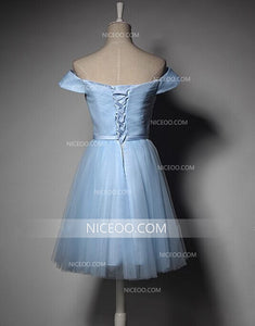 Off Shoulder Sweetheart Blue Tulle Bridesmaid Dresses Prom Dresses With Bowknot - NICEOO
