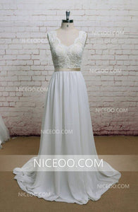 Elegant White A Line Open Back Chiffon Wedding Dresses Best Bride Gown