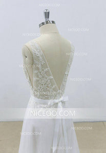 Elegant White V Back V Neck Sleeveless Tulle Wedding Dresses Bride Gown