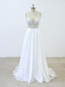White A Line V Neck Spaghetti Strap Open Back Wedding Dresses Bride Gown With Beadings - NICEOO