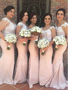 Sexy Blush Pink Strap Off Shoulder Mermaid Lace Bridesmaid Dresses Evening Dresses