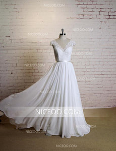 A Line Empire Waist White V Neck V Back Long Chiffon Wedding Dresses Bride Gown - NICEOO