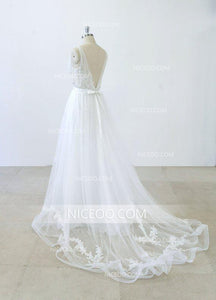 A Line V Neck Open Back Sleeveless Tulle Wedding Dresses Bride Gown - NICEOO