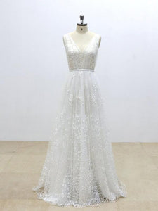 Sleeveless V Neck V Back Sleeveless Long Tulle Wedding Dresses Bride Gown