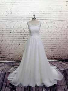 A Line Round Neck Open Back Tulle Wedding Dresses Bride Gown - NICEOO