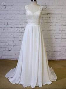 Open Back Strap Sweetheart Wedding Dresses Bride Gown With Bowknot - NICEOO