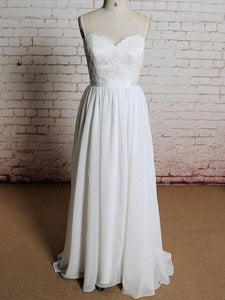 Spaghetti Strap Open Back Sweetheart Ivory Wedding Dresses Bride Gown
