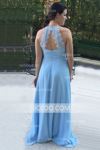 Blue Halter Open Back Long Chiffon Bridesmaid Dresses - NICEOO