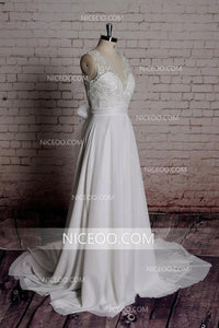 A Line V Neck V Back Strap Chiffon Wedding Dresses Bride Gown - NICEOO