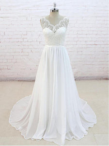 Elegant Ivory A Line Open Back Sweetheart Sleeveless Wedding Dresses Best Bride Gown - NICEOO