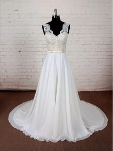 Ivory A Line V Neck Open Back Chiffon Wedding Dresses Long Bride Gown