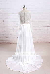 Elegant Ivory A Line Long Sleeveless Round Neck Chiffon Wedding Dresses Best Bride Gown - NICEOO