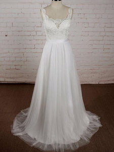 Simple Ivory A-Line Strap Empire Waist Long Tulle Wedding Dresses Bride Gown