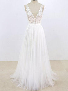 Sexy V Neck V Back Sleeveless A Line Tulle Wedding Dresses Best Bride Gown - NICEOO