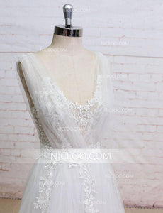 Ivory A Line V Neck V Back Tulle Wedding Dresses Bride Gown With Bowknot