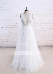Unique A Line Round Neck V Neck Sleeveless Wedding Dresses Best Bride Gown