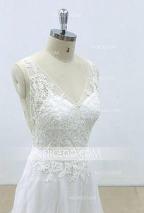 A Line Ivory V Neck Open Back Sleeveless Wedding Dresses Affordable Bride Gown - NICEOO