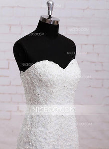 Mermaid Ivory Sweetheart Open Back Wedding Dresses Best Bride Gown - NICEOO