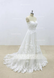 A Line Ivory Sweetheart Open Back Lace Wedding Dresses Bride Gown - NICEOO