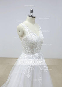 Sexy Ivory V Neck Open Back A Line Empire Waist Wedding Dresses Tulle Bride Gown