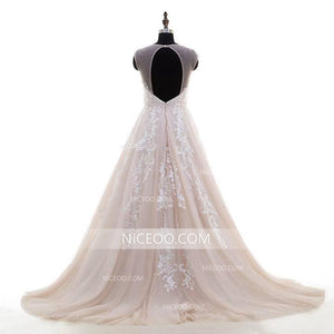 Elegant Champagne A Line Sweetheart Open Back Wedding Dresses Best Bride Gown - NICEOO