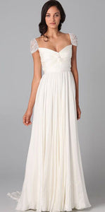 Elegant White A Line V Neck Empire Waist Chiffon Bridesmaid Dresses Evening Dresses