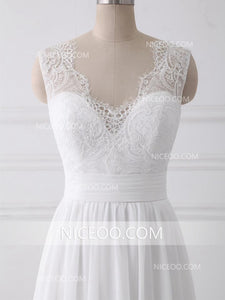 Elegant Ivory Strap Sweetheart A Line  Wedding Dresses Bride Gown With Bowknot - NICEOO