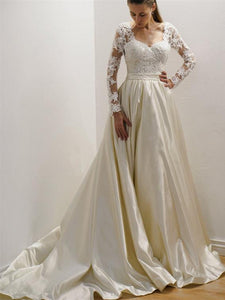 Ivory A Line Sweetheart Open Back Long Sleeves Satin Wedding Dresses Best Bride Gown