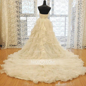 A Line Ivory Sweetheart Empire Waist Organza Wedding Dresses Best Bride Gown - NICEOO
