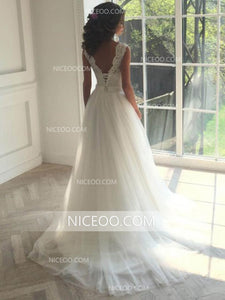 Sweetheart Open Back Ivory Lace Wedding Dresses Bride Gown