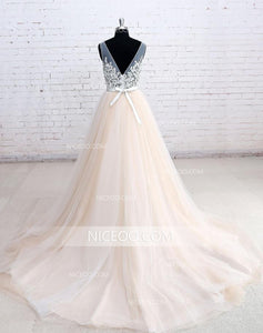Champagne A Line Empire Waist V Neck V Back Wedding Dresses Bride Gown With Appliques - NICEOO
