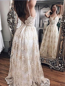 Sexy V Neck Open Back Spaghetti Strap Wedding Dresses Bride Gown With Appliques