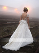 Elegant Ivory Cap Sleeves Sweetheart Open Back Wedding Dresses Bride Gown With Bowknot - NICEOO