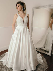 White V Neck Strap Open Back Satin Wedding Dresses Affordable Bride Gown - NICEOO