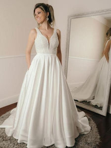 White V Neck Strap Open Back Satin Wedding Dresses Affordable Bride Gown