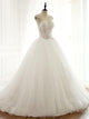 A Line Strapless Open Back Tulle Wedding Dresses Bride Gown - NICEOO