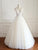 White V Neck Open Back Sleeveless Tulle Wedding Dresses Bride Gown