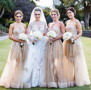 Sexy Champagne A Line Sweetheart Empire Waist Tulle Bridesmaid Dresses Prom Dresses