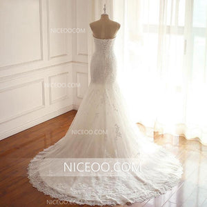 Mermaid Ivory Strapless Lace Wedding Dresses Best Bride Gown - NICEOO