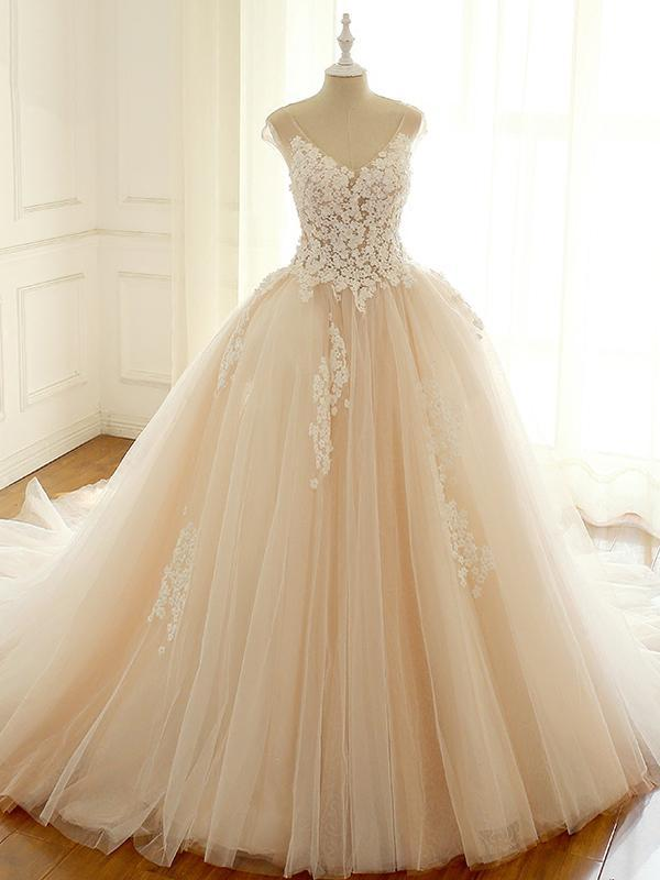 V Neck Open Back A Line Empire Waist Tulle Wedding Dresses Bride Gown Niceoo