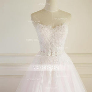 Blush Pink Sweetheart Open Back Organza Wedding Dresses Bride Gown