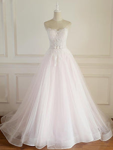 Blush Pink Sweetheart Open Back Organza Wedding Dresses Bride Gown - NICEOO
