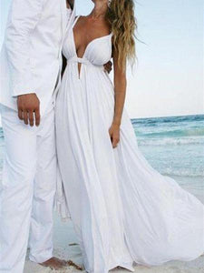 Sexy White A Line V Neck Open Back Satin Beach Bride Gown Wedding Dresses