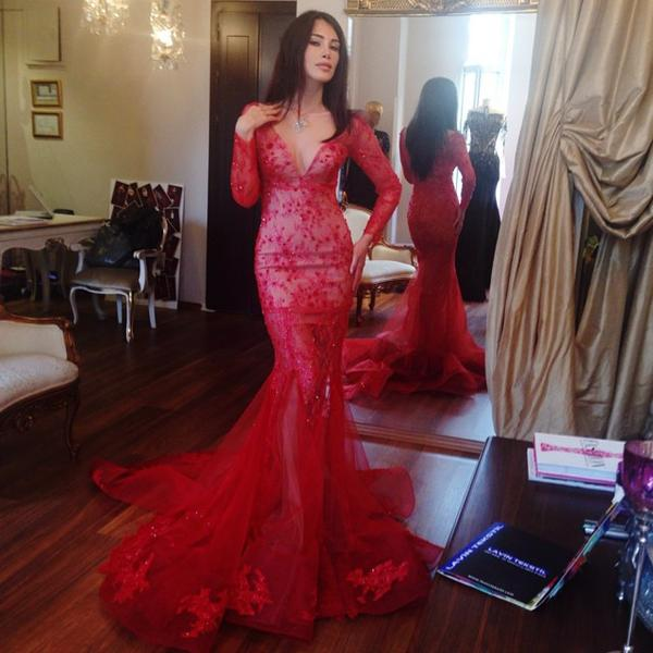 10432012a77 Sexy Red V Neck Mermaid Long Sleeves Prom Dresses Evening Dresses ...