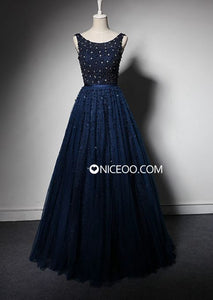 Navy Blue A Line Round Neck Sleeveless Homecoming Dresses Best Prom Dresses - NICEOO