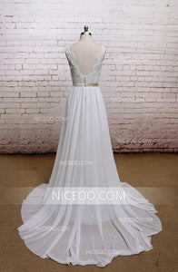 Simple A Line V Neck Open Back Strap Chiffon Wedding Dresses Bride Gown