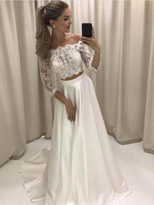 Off Shoulder Long Sleeves Two Pieces White Satin Wedding Dresses Best Bride Gown - NICEOO