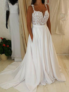 A Line Spaghetti Strap Sweetheart White Wedding Dresses Bride Gown - NICEOO