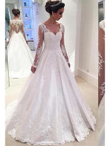 Ivory A Line Sweetheart Long Sleeves Lace Wedding Dresses Bride Gown